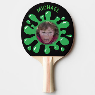 Funny Splatter Squish Green Goo Custom Name Photo Ping Pong Paddle