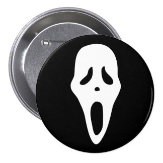 Funny Spooky Ghost Scream Face - Happy Halloween Button