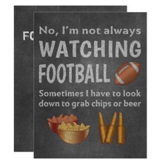 Funny Sports Fan Not Always Watching Football 11 Cm X 14 Cm Invitation Card