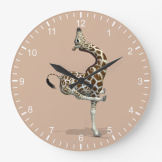Funny Sporty Giraffe Large Clock
