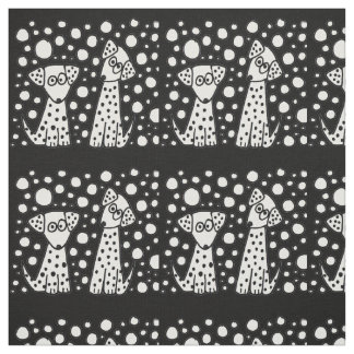 Funny Spotted Dogs Abstract Fabric