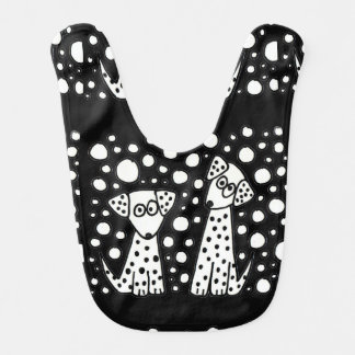 Funny Spotted Puppy Dogs Abstract Art Bib