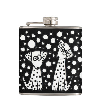 Funny Spotted Puppy Dogs Abstract Art Hip Flask