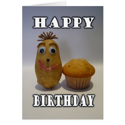 """Funny """"Spud"""" Muffin - Happy Birthday for Guy Greeting Cards"""