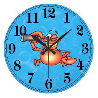 Funny Spying Crab Fish Wall Clock