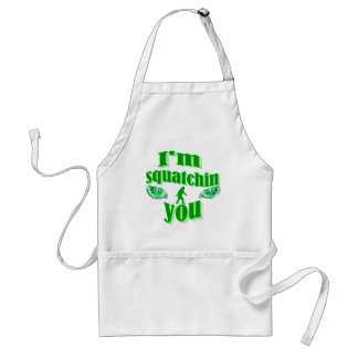 Funny squatching adult apron