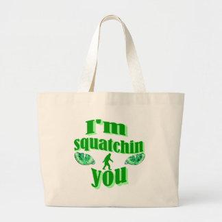 Funny squatching jumbo tote bag