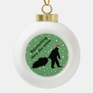 Funny Squatching Thru the Snow Tree Ornament Ball