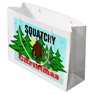 Funny Squatchy Christmas Bigfoot Tacky Large Gift Bag