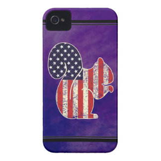 Funny Squirrel Distressed American Flag Patriotic Case-Mate iPhone 4 Case