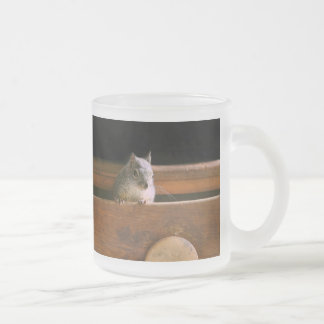 Funny Squirrel Hiding Frosted Glass Mug