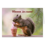 Funny Squirrel Licking Ice Cream Cone Greeting Card