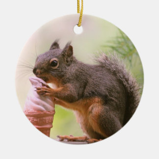 Funny Squirrel Licking Ice Cream Cone Christmas Ornament