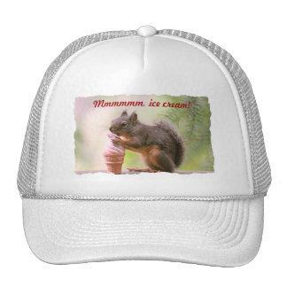 Funny Squirrel Licking Ice Cream Cone Trucker Hats