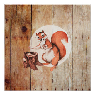 Funny squirrel on wood poster