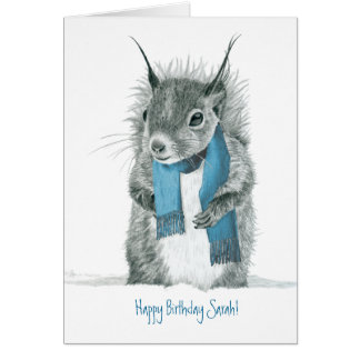Funny Squirrel Wearing Blue Scarf Greeting Card