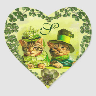 FUNNY ST.PATRICK'S DAY CATS, SHAMROCK HEART HEART STICKER