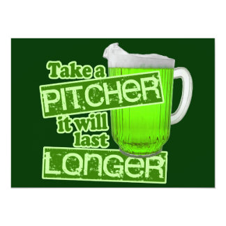 Funny St. Patrick's Day Green Beer 5.5x7.5 Paper Invitation Card