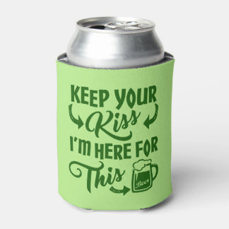 Funny St Patricks Day Kiss Deterrent | Irish Beer Can Cooler