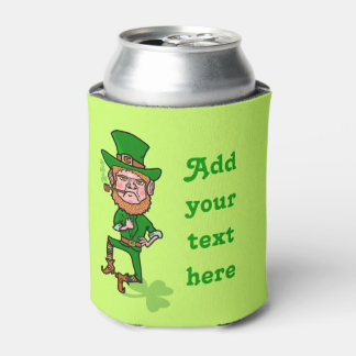Funny St Patrick's Day Leprechaun Add Your Text Can Cooler