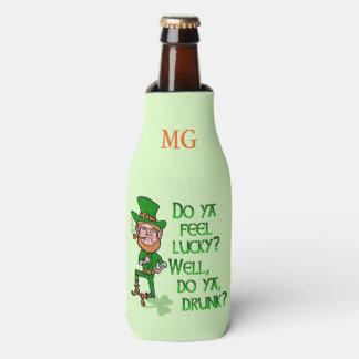 Funny St Patrick's Day Leprechaun Lucky Drunk Bottle Cooler