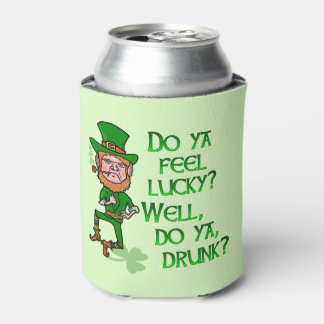 Funny St Patrick's Day Leprechaun Lucky Drunk Can Cooler