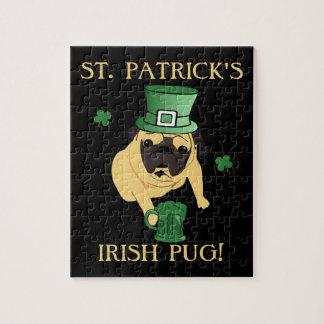 Funny St. Patrick's Irish Pug Jigsaw Puzzle