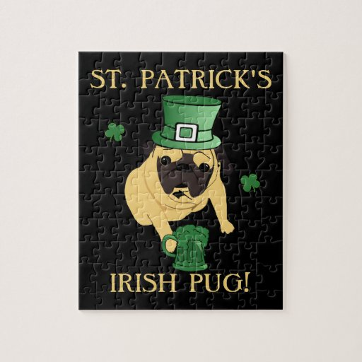 Funny St. Patrick's Irish Pug Jigsaw Puzzles
