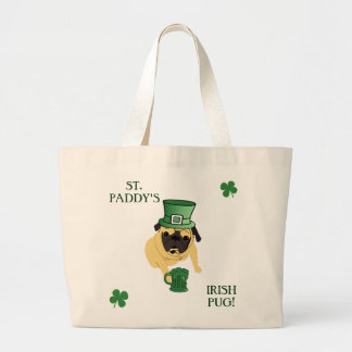 Funny St. Patrick's Irish Pug Jumbo Tote Bag