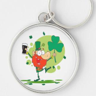 funny st pattys day leprechaun cartoon character key chain