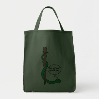 Funny Staff of Asclepius Canvas Bags