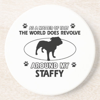 Funny staffy designs sandstone coaster
