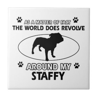 Funny staffy designs small square tile
