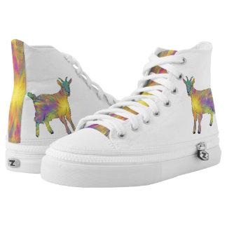 Funny Starburst Goat Psychedelic Animal Art Design High Tops