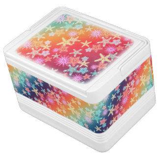 Funny Starfish in a colorful rainbow style pattern Igloo Cooler