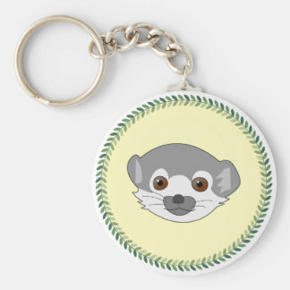 Funny staring baby lemur basic round button key ring