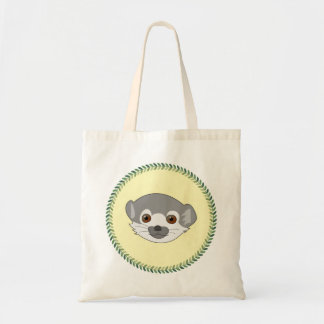 Funny staring baby lemur budget tote bag