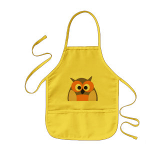 Funny staring cartoon owl apron