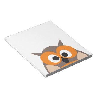 Funny staring cartoon owl notepad