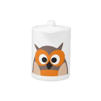 Funny staring cartoon owl teapot