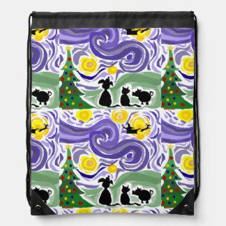 Funny Starry Night Style Christmas Art Drawstring Backpacks