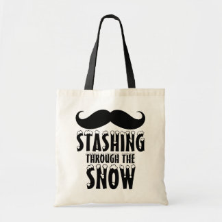 Funny Stashing Through The Snow Tote Bags