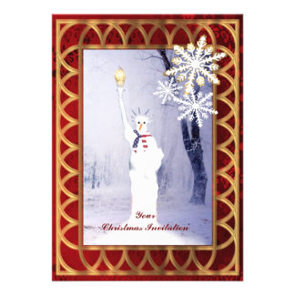 Funny statue of Liberty snowman Christmas Custom Invitations