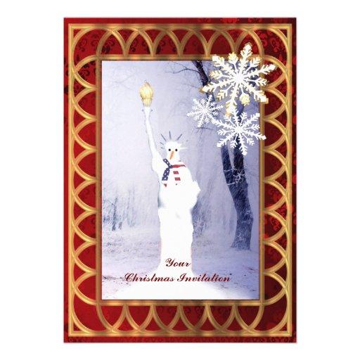 Funny statue of Liberty snowman Christmas Custom Invitations