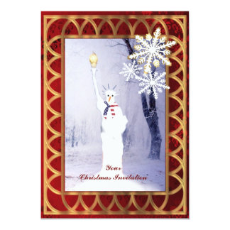 Funny statue of Liberty snowman Christmas 5x7 Paper Invitation Card