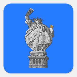 Funny statue of liberty square sticker