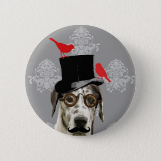 Funny steampunk dog 6 cm round badge