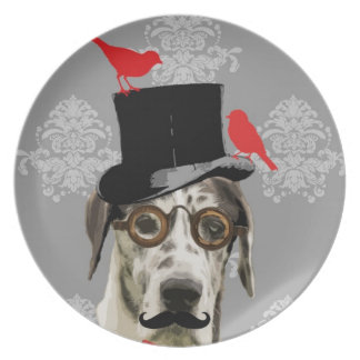 Funny steampunk dog plate