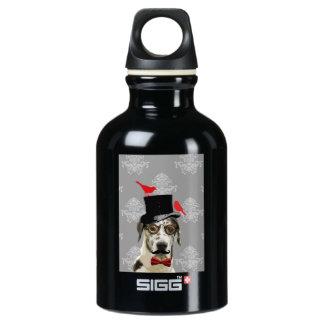 Funny steampunk dog water bottle
