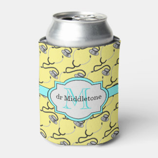 Funny stethoscopes for doctors on yellow name can cooler